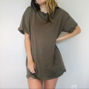 H&M Mens army green cuff sleeve long tee